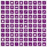 100 mirror icons set grunge purple. 100 mirror icons set in grunge style purple color isolated on white background vector illustration Stock Photography