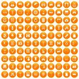 100 mirror icons set orange. 100 mirror icons set in orange circle isolated on white vector illustration Royalty Free Stock Images