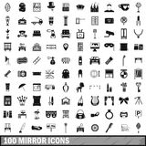 100 mirror icons set, simple style. 100 mirror icons set in simple style for any design vector illustration Royalty Free Stock Images