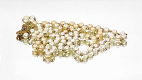 Mirror Image Double Strand Pearls Front View Royalty Free Stock Photography