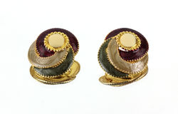 Mirror Image Earrings Upright. A mirror image of the intricate backs of the earrings stock photo