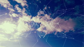 Mirror image pattern moving over cloudy sky stock footage