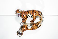 A mirror image of a porcelain wild jaguar on a white background.  Royalty Free Stock Photography