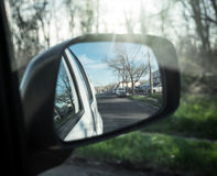 Mirror. Image of rear view mirror on the car Stock Photo