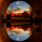 Mirror Image Through A Tunnel Autumn Landscape Stock Photography