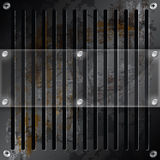 Mirror label on metallic grille Royalty Free Stock Photo