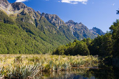 Mirror Lake. Southern Alps and beautiful Mirror Lake at the side of the road to Milford Sound. National Park Fiordland, South Island, New Zealand stock photo