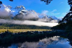 Free Mirror Lake And Its Perfect Reflection Of Snow Mountains In New Zealand Royalty Free Stock Image - 120099846