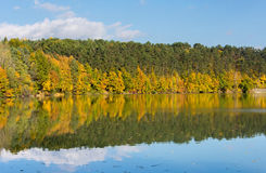 Mirror lake. Autumn lake with perfect reflection of beautiful colored trees stock image