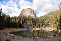 Wild nature in Rocky Mountains, Mirror lake. Mirror lake and big beehive mountain, at banff national park, canada Stock Photos