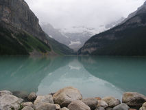 Mirror Lake in Canada (Lake Louise). Reflections in lake in Canada Stock Photo