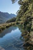 Mirror Lake in Fiordland National Park, New Zealand. Stock Image