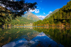 Mirror Lake. Jiuzhaigou famous attractions. Mirror the sea a flat as a mirror, it derives its name. It's like a mirror, the scene on the ground and in the air Royalty Free Stock Photo
