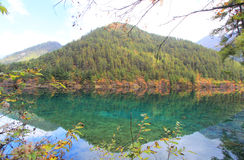 Mirror Lake,Jiuzhaigou,north of Sichuan province, China. Jiuzhaigou Valley Scenic and Historic Interest Area and World Heritage Site Stock Image