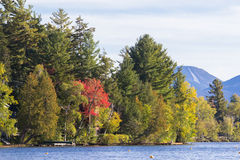 Mirror lake in Lake Placid, New York. Royalty Free Stock Photos