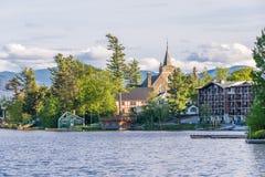 Mirror Lake of Lake Placid village Stock Photography