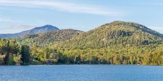 Mirror Lake of Lake Placid village Stock Photos