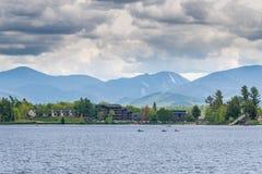 Mirror Lake of Lake Placid village Royalty Free Stock Photos