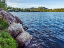 Mirror Lake of Lake Placid village Stock Images