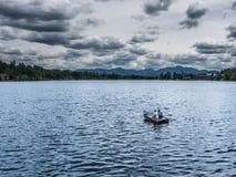 Mirror Lake of Lake Placid village Stock Image