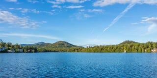 Mirror Lake of Lake Placid village Royalty Free Stock Photo