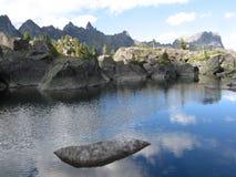 Mirror lake. The mountain lake in the national park Ergaki, Krasnoyarsk region, Siberia, Russia Stock Photo