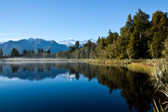 Mirror lake in New Zealand outback Royalty Free Stock Images