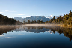 Mirror lake in New Zealand outback Stock Photo