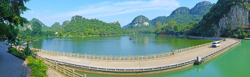 Mirror lake panorama Stock Photo