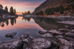 Mirror Lake Surface Reflecting Sunset Light And Pine Trees, Altai Mountains Highland Nature Autumn Landscape Photo Stock Images