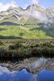 Mirror lakes, Milford Sound (New Zealand) Royalty Free Stock Image