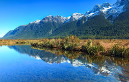 Mirror Lakes, New Zealand. Mirror Lakes are a set of lakes on the road from Te Anau to Milford Sound in New Zealand Stock Photography