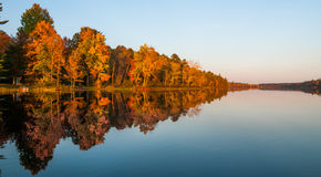 Mirror-like reflections and glowing orange forest on a Northern Ontario lake at sundown on a late summer's day royalty free stock images