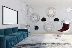 Mirror living room, blue sofa, armchair. White wall living room interior with a soft carpet, a blue sofa with two posters hanging above it and a marble chest of Stock Photography