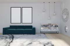 Mirror living room, blue sofa. White wall living room interior with a soft carpet, a blue sofa with two posters hanging above it and a marble chest of drawers Stock Image