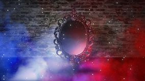 Mirror magical, fortune telling and fulfillment of desires. Brick wall with thick smoke,. Rays of magic light, night feed, riddle royalty free stock images