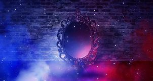 Mirror magical, fortune telling and fulfillment of desires. Brick wall with thick smoke,. Rays of magic light, night feed, riddle stock photography