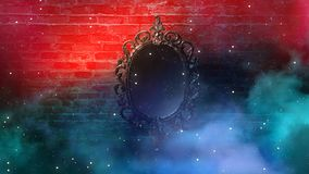 Mirror magical, fortune telling and fulfillment of desires. Brick wall with thick smoke,. Rays of magic light, night feed, riddle royalty free stock photography