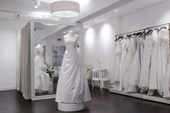 Mirror, mannequin and changing room in bridal shop Royalty Free Stock Photography