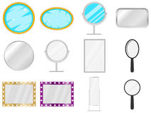 Mirror, mirror icon, piece of furniture, to look. Big set of the mirror Stock Photo