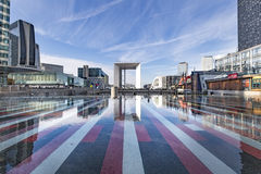 Mirror of modern buildings. In the Business district, La Defense, West Paris, France stock images