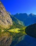 Mirror mountain. Germany, Bavaria, Berchtesgaden sunny day in the mountains royalty free stock photography