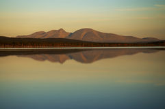 Mirror mountains in lake. Mirror efect in lake, mountains, Norway Royalty Free Stock Photography