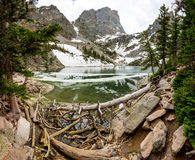 Mirror mountains in lake landscape panoramic view Royalty Free Stock Image