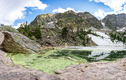 Mirror mountains in lake landscape panoramic view Stock Image
