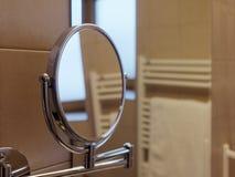 Mirror oval bathroom. Interior shot Stock Photos