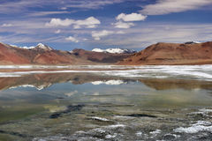 Mirror panorama of the high mountains of ake: blue and green water surface reflect mountains and clouds, Tibet, India. Royalty Free Stock Image