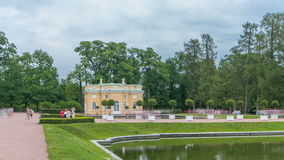Mirror Pond in Catherine Park and Upper Bathhouse pavilion timelapse. Tsarskoye Selo Pushkin, Saint Petersburg, Russia stock footage