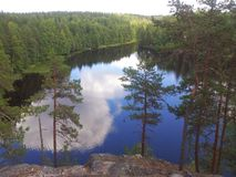 Mirror pond. Nature, forest, sky, pine Stock Photos