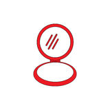 Mirror. Red mirror flat illustration icon EPS 10 Stock Image